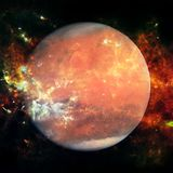 Colorful picture represents Mars, nebulas and galaxies. In deep space. Elements of this image furnished by NASA royalty free stock image