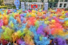 The Color Run Hero Tour Bucharest royalty free stock images