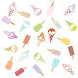 Colorful picture of various kinds of delicious ice cream. On a white background Royalty Free Stock Photos