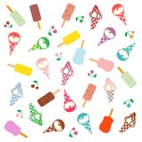 Colorful picture of various kinds of delicious ice cream. On a white background Stock Photo