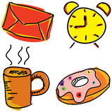Colorful pictures with alarm clock Royalty Free Stock Image