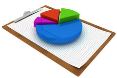 Colorful pie chart on a clipboard Stock Image