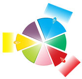 Colorful pie chart with tabs Royalty Free Stock Photography