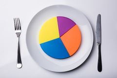 Colorful Pie Chart On White Plate. Elevated View Of Pie Chart On White Plate With Fork And Butter Knife royalty free stock images