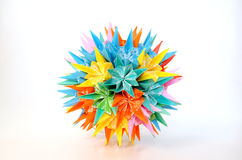 Colorful piece. This is a kuzudama piece. Similar to the more known japanese paper folding technique origami, kuzudama takes many paper pieces to make one piece Stock Image