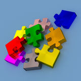 Colorful pieces of puzzle, 3d rendering Stock Photo