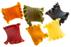 Colorful pieces of tasty pasta. Royalty Free Stock Photos