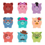 Colorful piggy bank icon set. Front view Vector Illustration