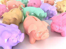 Colorful piggy banks. 3d illustration Royalty Free Stock Photo