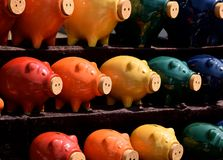 Colorful Piggy Banks royalty free stock photography