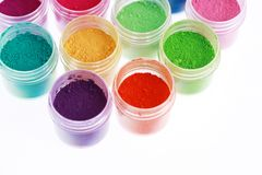 Colorful pigments powders. Isolated on white royalty free stock images