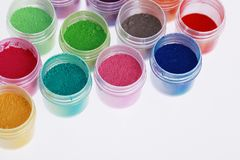 Colorful pigments powders Royalty Free Stock Image