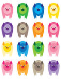 Colorful Pigs. Sixteen brightly colored, adorable and cute pigs Royalty Free Stock Photos