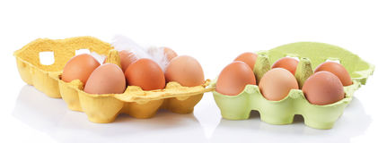 Colorful pile of chicken egg carton Royalty Free Stock Photography
