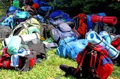 Colorful Pile Of Backpack Of Scouts During An Excursion In The N Stock Photos