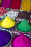 Colorful Piles of Indian Bindi Powder at Local Market. Colorful piles of Indian bindi powder dye at the local Devaraja outdoor Market in Mysore India Royalty Free Stock Image