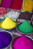 Colorful Piles of Indian Bindi Powder at Local Market Royalty Free Stock Image