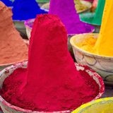 Colorful piles of powdered dyes used for Holi festival Royalty Free Stock Photos