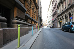 Colorful piles on a street in Budapest Stock Photography