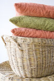 Colorful pillow on basket Royalty Free Stock Photography