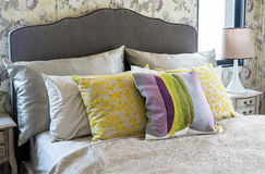 Colorful pillow on bed Royalty Free Stock Photography