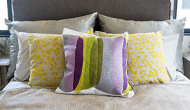 Colorful pillow on bed Royalty Free Stock Photo