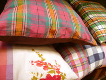 Colorful pillow. Colorful decorated natural fabric pillow Royalty Free Stock Photography