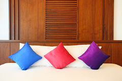 Colorful Pillow on hotel Stock Photos