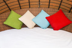 Colorful Pillow on hotel bed Royalty Free Stock Photography