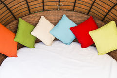 Colorful Pillow on hotel bed Royalty Free Stock Photos