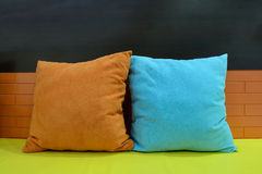 Colorful pillow and sofa as background Royalty Free Stock Photography