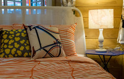 Colorful pillows on bed Stock Photography