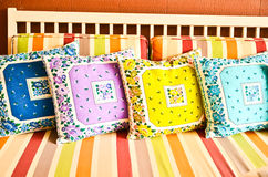 Colorful pillows, on sofa Royalty Free Stock Images