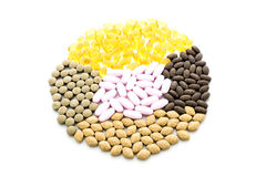 Colorful pills Arranged in a circle Royalty Free Stock Photos