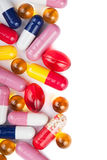 Colorful pills background Stock Photos
