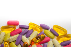 Colorful pills background Stock Images