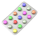 Colorful pills in blister  3d Stock Photography