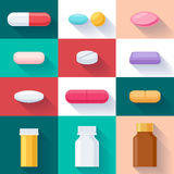 Colorful pills and bottles icons set. Flat style Stock Photography