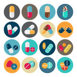 Colorful pills and capsules icon Royalty Free Stock Images