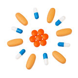 Colorful pills in circular pattern. Stock Images