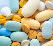 Colorful pills drugs and tablets Royalty Free Stock Photos