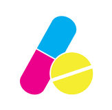 Colorful pills icon vector isolated in white background. Royalty Free Stock Photos