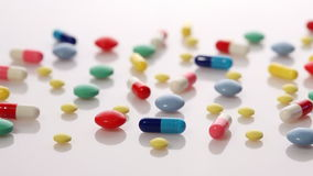 Colorful pills stock footage