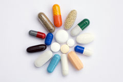 Colorful pills. Some kinds of pills of many colors and sizes Royalty Free Stock Image