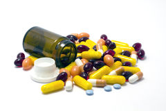 Colorful pills, tablets and pillbox Stock Photos