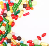 Colorful pills on white background Stock Image