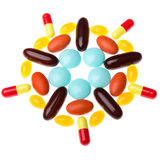 Colorful pills on white background Stock Images