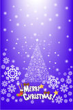 Colorful pine tree card design on the snowflake background - vector eps10 Royalty Free Stock Photo