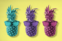 Colorful pineapple fruit with hipster sunglasses Stock Images