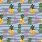 Colorful pineapple seamless pattern on pastel waves background,for fashion,fabric,textile,print or wallpaper stock photography
